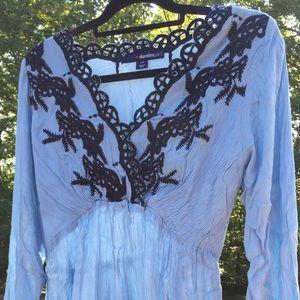 Roaman's Tops - Denim 24/7 boho embroidered bell TUNIC blue